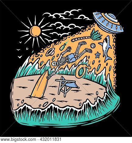 Alien Invasion On The Beach Vector Illustration