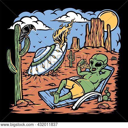 Alien Stranded In The Desert Vector Illustration