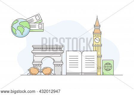 Travelling Around The World And Journey To Foreign Country For Vacation With Famous Landmark And Gui