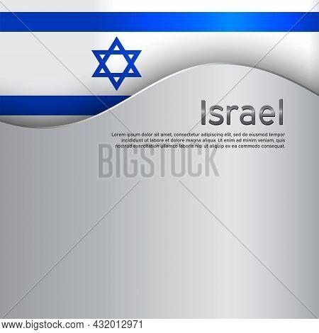 Israel Flag Background. Israel Wavy Flag On A Metal Background. National Poster. Business Booklet. S