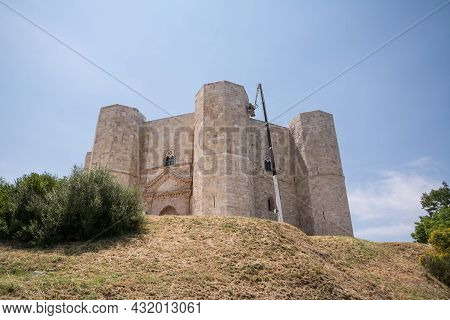 Andria, Italy - 18 June 2021: Restoration Work With Telescopic Arm And Basket At Castel Del Monte (i