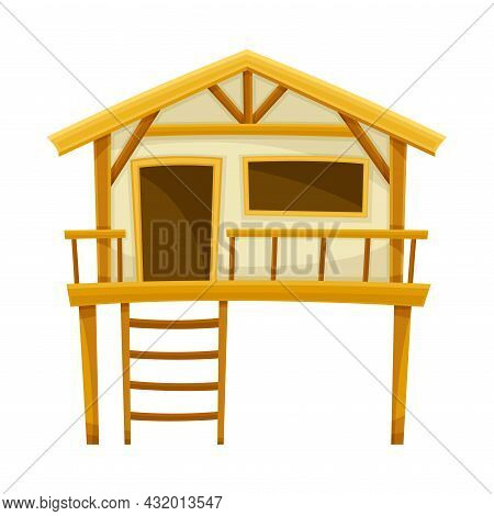 Tropical Wooden Hut Or Bungalow With Ladder Vector Illustration
