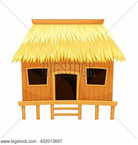 Tropical Thatched Hut Or Bungalow As Summer House Vector Illustration