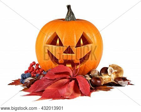 Halloween, Pumpkin, Autumn Composition, Old Jack-o-lantern On White Background With Fiery Flames In