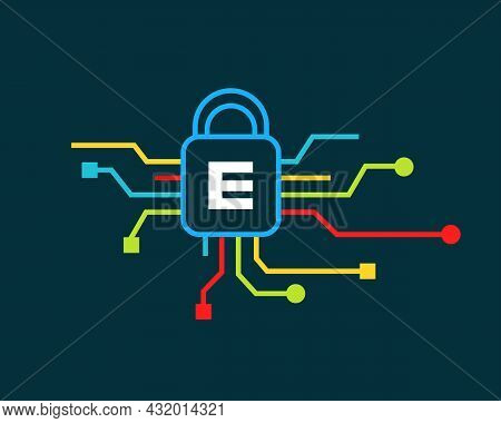 Cyber Security Logo With E Letter Concept. E Letter Logo For Cyber Protection, Technology  And Biote
