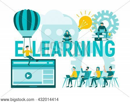 E-learning, Online Education, Web Tutorials. People In The Learning Process. Concept Vector Illustra
