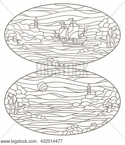 Set Contour Illustrations Of Stained Glass Seascapes, Lighthouse In Rocky Bay On The Background Of S