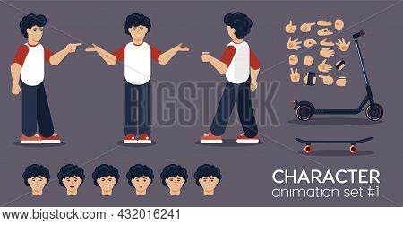 Young Man Character Animation Set. Front, Side And Back View Guy Ready For Motion Design And 2d Anim