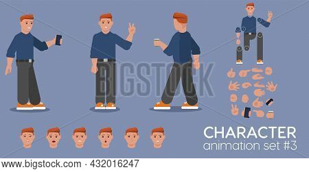 Young Redheaded Man Character Animation Set. Front, Side And Back View Guy Ready For Motion Design A