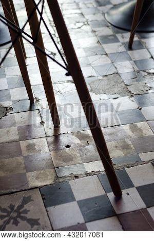 Traditional Design Old Broken Floor Tiles Detail In Trendy Ibiza Cafe Interior