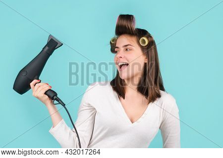 Woman With Hair Dryer. Beautiful Girl With Straight Hair Blow Dryer Hair With Professional Hairdryer