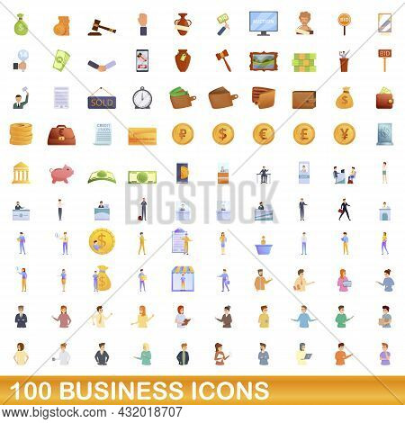 100 Business Icons Set. Cartoon Illustration Of 100 Business Icons Vector Set Isolated On White Back