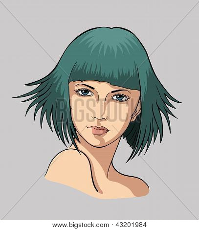 Face of a girl with green hair