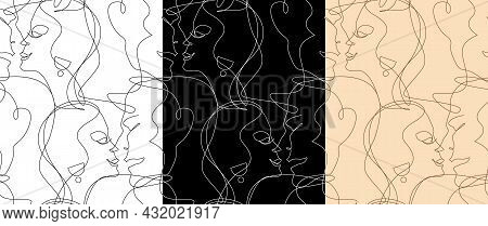 Set Of Abstract Portraits Of Lovers Who Kiss In Black And White For Home Textiles And Clothing As We