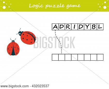 Logic Puzzle Game. Learning Words Ladybug In English. Find The Hidden Name. Activity Page For Study
