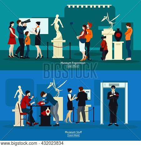 Gallery Exposition Flat Banners Set Of People Visiting Antique Museum Of Paleontology And Museum Stu