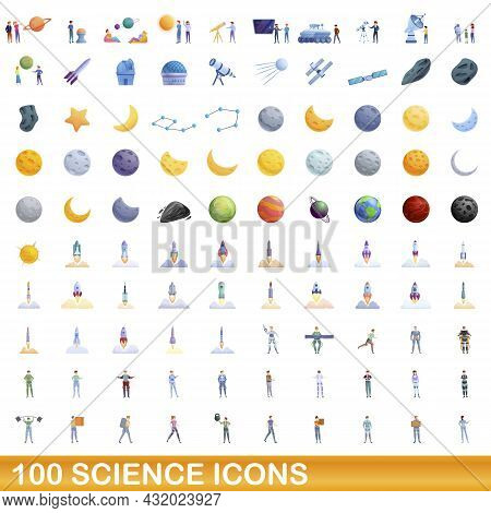 100 Science Icons Set. Cartoon Illustration Of 100 Science Icons Vector Set Isolated On White Backgr