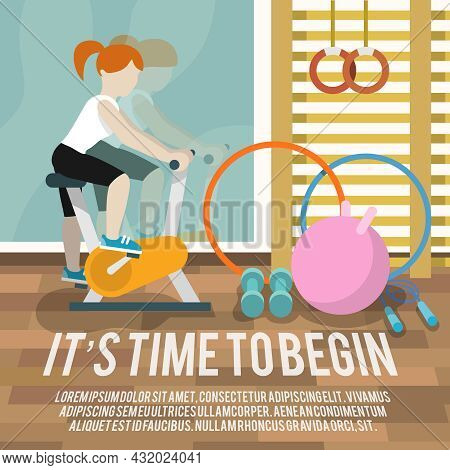 Woman On Cycling Machine In Gymnasium Fitness Lifestyle Time To Begin Poster Vector Illustration