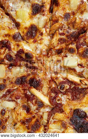 Close Up View On Tasty Hawaii Pizza. Top View On Paperoni Pizza. Concept For Italian Food, Street Fo