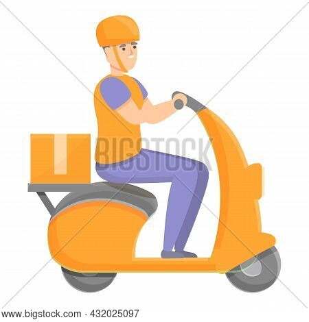 Scooter Delivery Icon Cartoon Vector. Service Order. Express Shipment