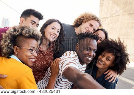 Multiethnic Group Of Friends. Taking Selfie Outside. Caucasian, Asian, Latino, African American Peop
