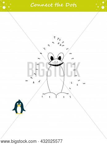 We Draw A Penguin. Dot To Dot. Draw A Line. Game For Toddler. Learning Numbers For Kid. Education De