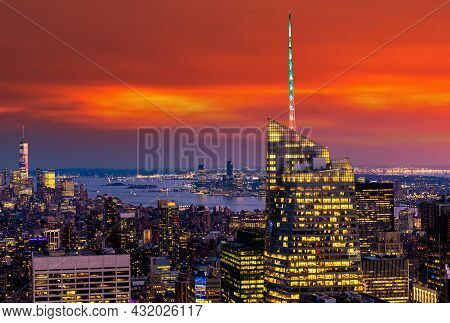 Panoramic Aerial View Of Manhattan At Night In New York City, Ny, Usa