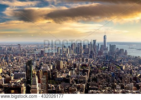 Panoramic Aerial View Of Manhattan At Sunset In New York City, Ny, Usa
