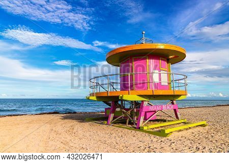 Lifeguard Tower In South Beach, Miami Beach In A Sunny Day, Florida
