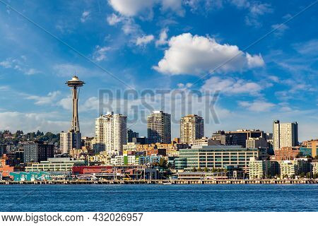 Panoramic View Of Seattle Cityscape At Elliott Bay In A Sunny Day, Washington, Usa