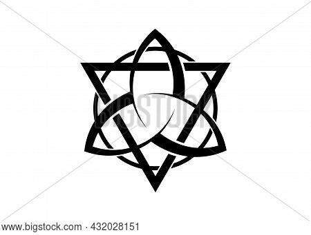 Triquetra With Triangle And Circle Logo, Trinity Knot Tattoo, Pagan Celtic Symbol Triple Goddess. Wi