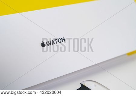 Russia Rostov - May 29 2021:half-opened Box With New Unpacked New Generation Of Apple Watch With Ban
