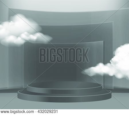 Minimal Scene With Black Podium And Cloud Abstract Dark Transparent  Background Scene Studio Or Pede