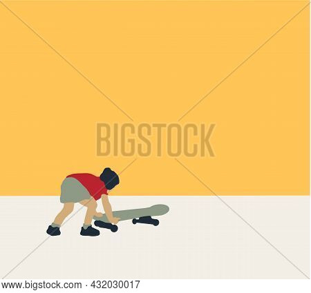 Girl, Skate, Skateboard, Sport, Young, Trendy, Board. Young Hipster Skateboarder. Flat Style Charact