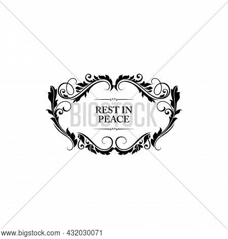 Funeral Floral Frame For Obituary Card Or Death Rip Memorial, Vector Border Template. Funeral Black