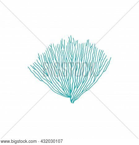 Blue Bubble Tip Anemone Isolated Soft Coral Icon. Vector Seaweed, Bubble-tip Anemone, Marine Bottom