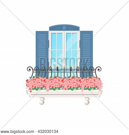 Balcony House With Window, Vintage Facade Building, Vector Flat Apartments Banister. Balcony With Sh