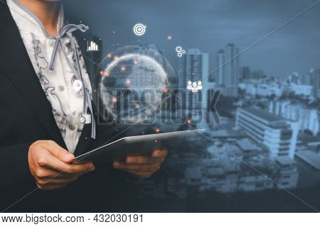 Business Woman Using Digital Tablet With Business Global Internet Connection Application Technology