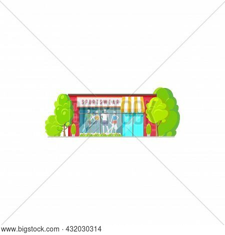 Sportswear Clothing Store Isolated Shop Exterior With Sportive Cloth And Sport Equipment, Flat Carto