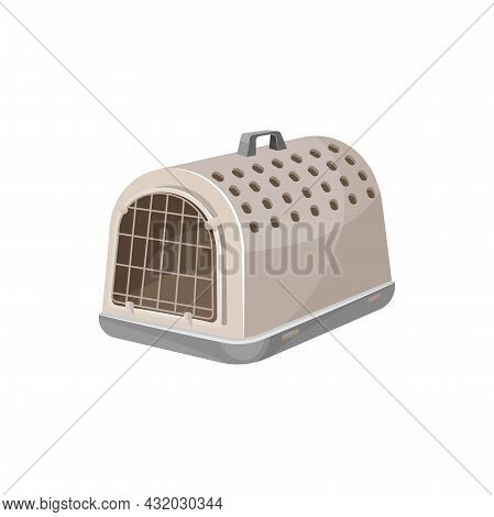 Cat Carrier Case Or Pet Portable Container For Travel, Vector. Pets Care Accessory And Carry Equipme
