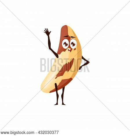 Emoticon Character Of Spotted Kidney Bean Isolated Food Ingredient With Childish Face, Waving Hand.