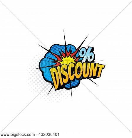 Half Tone Comic Discount On Price Off Percent Reduction Isolated Pop Art Icon. Vector Save Money Pro