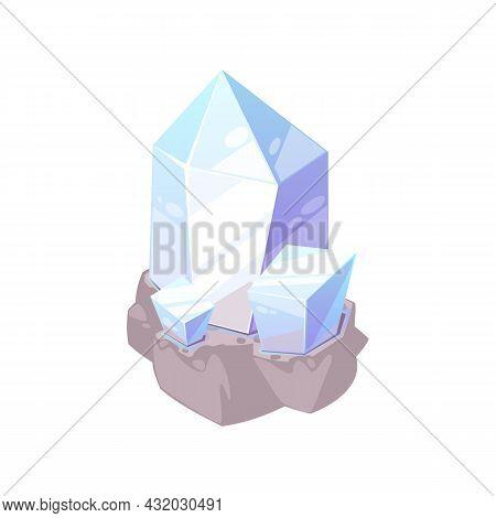 Mineral Expensive Tourmaline Semi Precious Emerald Isolated Flat Cartoon Icon. Vector Apatite Opal Q