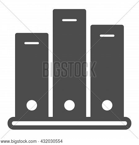Shelf With Folders, Archival Documents Solid Icon, Documents Concept, Office Binders Vector Sign On