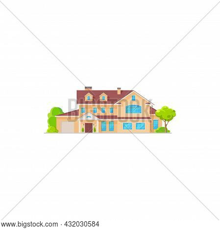 Luxury House, Cottage And Residential Building, Real Estate Isolated Vector Icon. Cartoon Exterior F