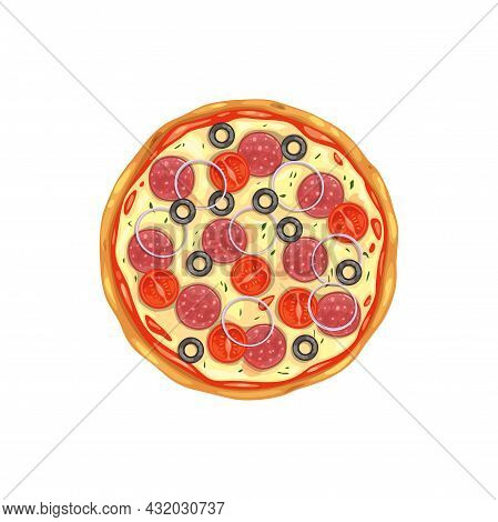 Pizza, Fast Food Pizzeria Menu Icon, Vector Isolated Italian Cuisine Restaurant And Fastfood Meals.