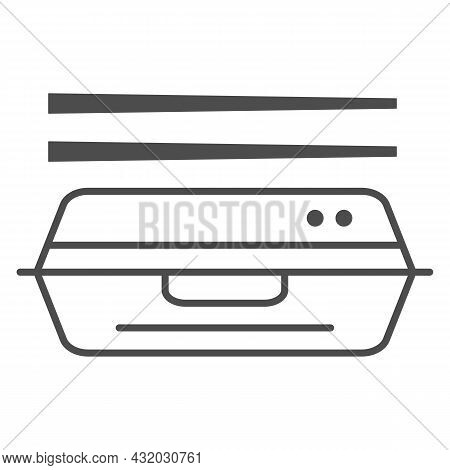 Bento Thin Line Icon, Asian Food Concept, Japanese Lunchbox With Chopsticks Vector Sign On White Bac