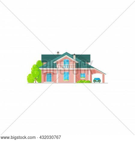 House Villa Or Mansion Building, Cottage Or Townhouse, Vector Isolated Property. Family House Or Lux