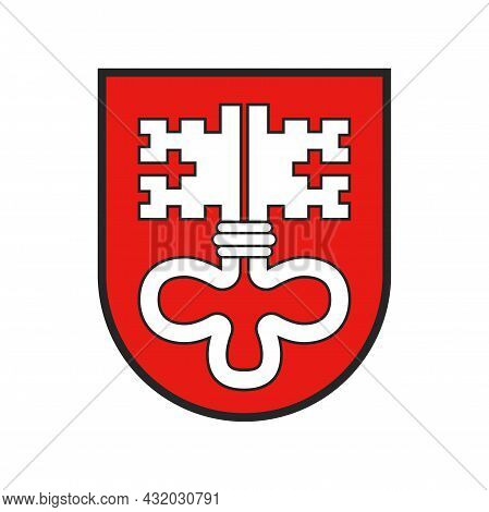 Switzerland, Swiss Canton Flag Or Schweiz Crest Heraldry Of City State, Vector Icon. Swiss Canton Sy
