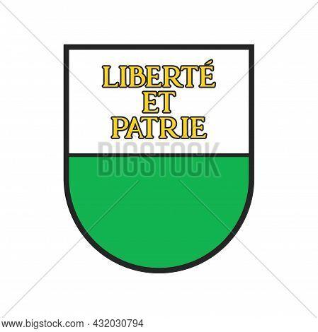 Switzerland, Swiss Canton, Region State Flag, Vector Vaud City Coat Of Arms Shield. Schweiz Kanton O